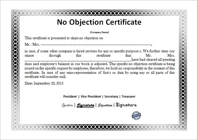 No Objection Certificate Templates Microsoft Word