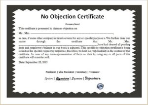 no objection certificate NOC
