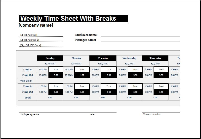Timesheet Templates For Ms Excel  Microsoft Word  Excel Templates