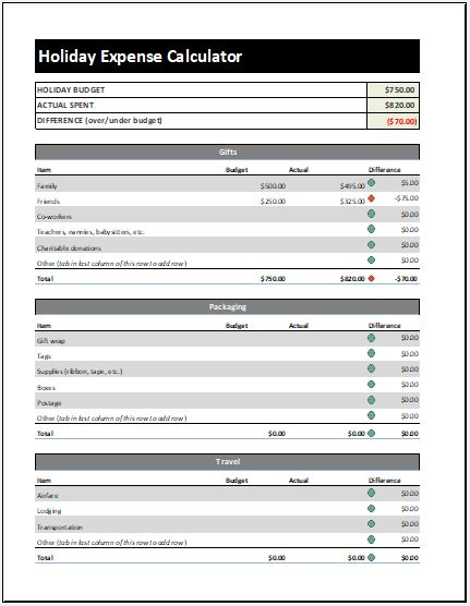 Holiday Expense Calculator Template  Microsoft Word  Excel Templates