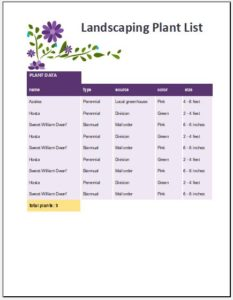 Landscaping Plant List Template