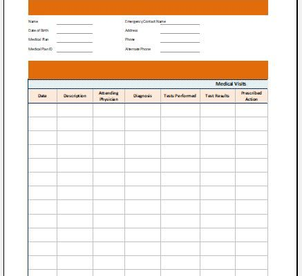 Medical health record worksheet