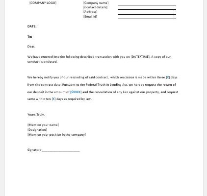 Notice of Rescission Template