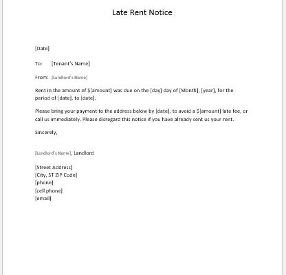 Late Rent Notice to Tenant