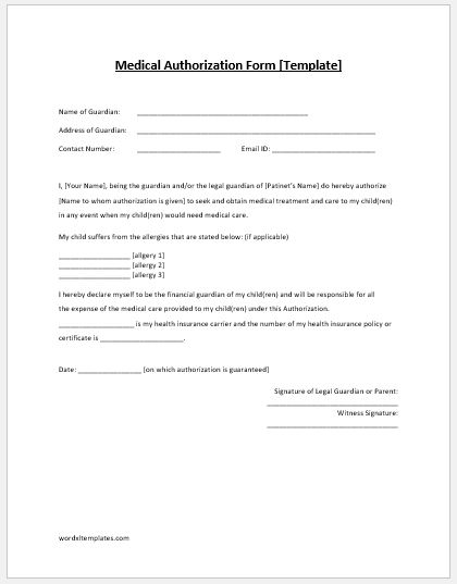 TEMPLATE. Medical Authorization Form  Medical Authorization Form Template