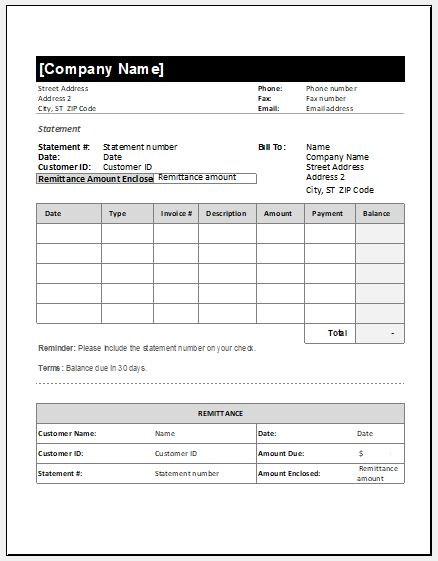 Billing Statement Invoice Template Microsoft Word Excel Templates