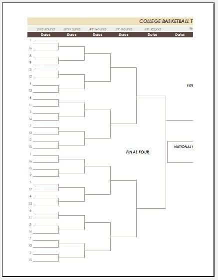 blank march madness bracket template with menu template word free