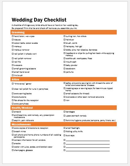 Wedding Day Checklist Template