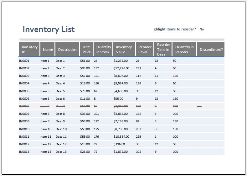 Small business inventory template 2