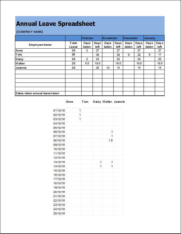 Annual Leave Spreadsheet template
