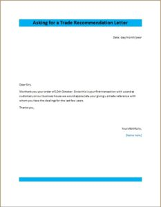Asking for a Trade Recommendation Letter
