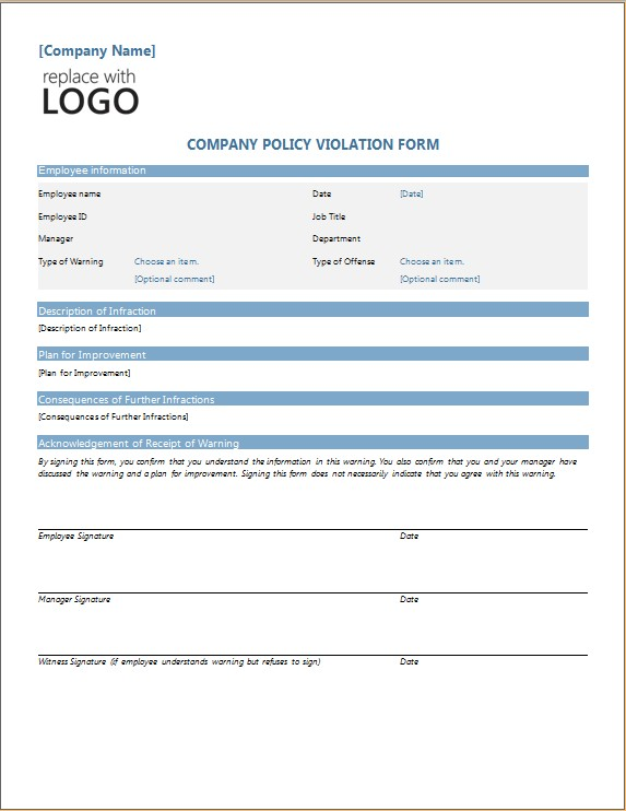 COMPANY POLICY VIOLATION FORM