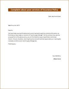 Complaint about poor services of Insurance Policy