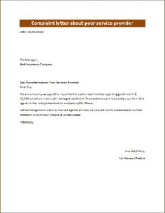 Complaint letter about poor service provider
