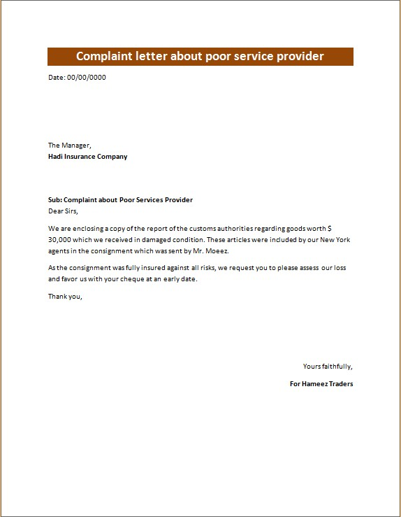 complaint letter to supplier for poor service