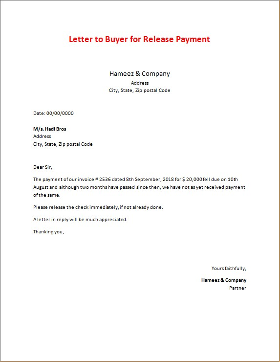Letter to Buyer for Release Payment