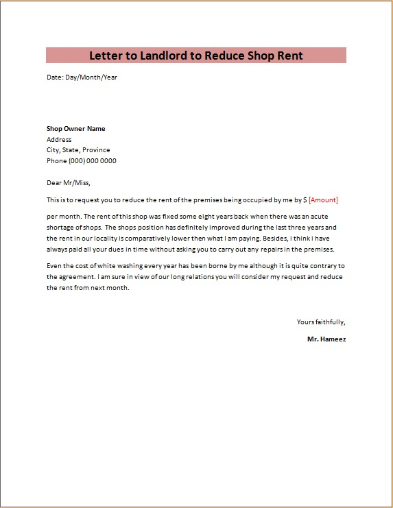 letter to landlord to reduce shop rent