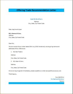 Offering Trade Recommendation Letter
