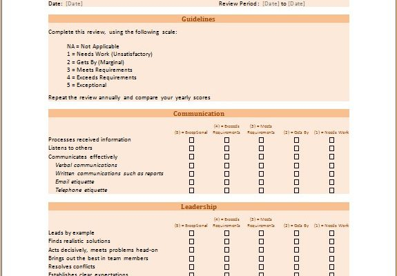 Organizational skill assessment form