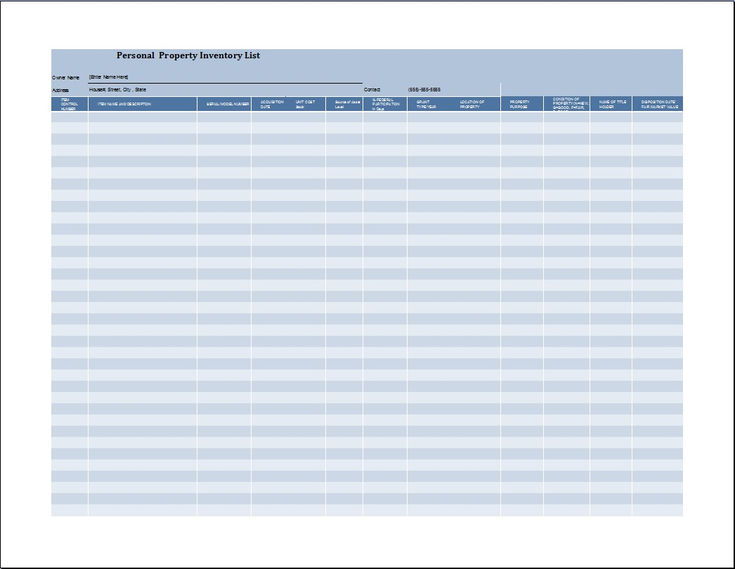 Property Inventory Template