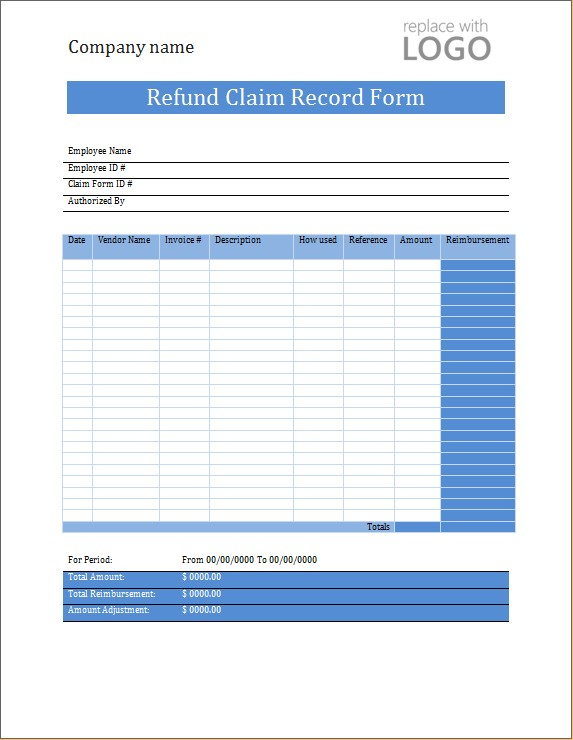 Refund Claim Record Form