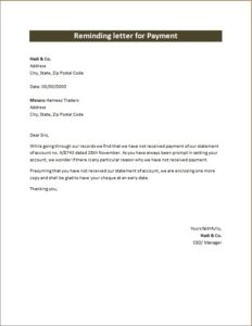 Reminding Letter of Payment