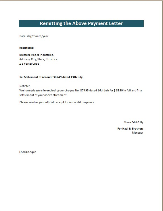 Remitting the Above Payment Letter