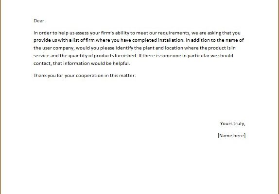 Request for Contractor Recommendation Letter