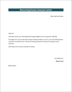 Returning Excess Amount Letter