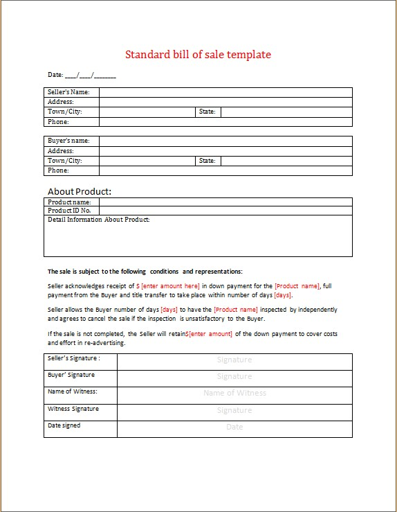 Standard Bill of Sale Word Template