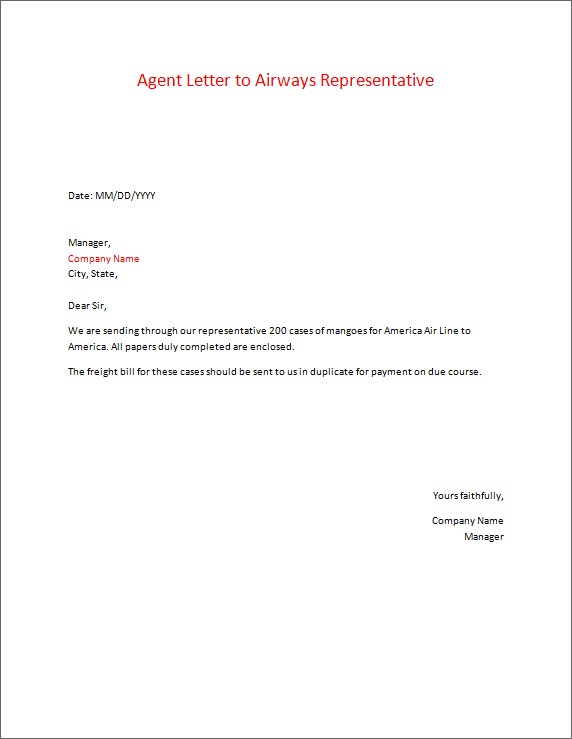Agent Letter to Airways Representative
