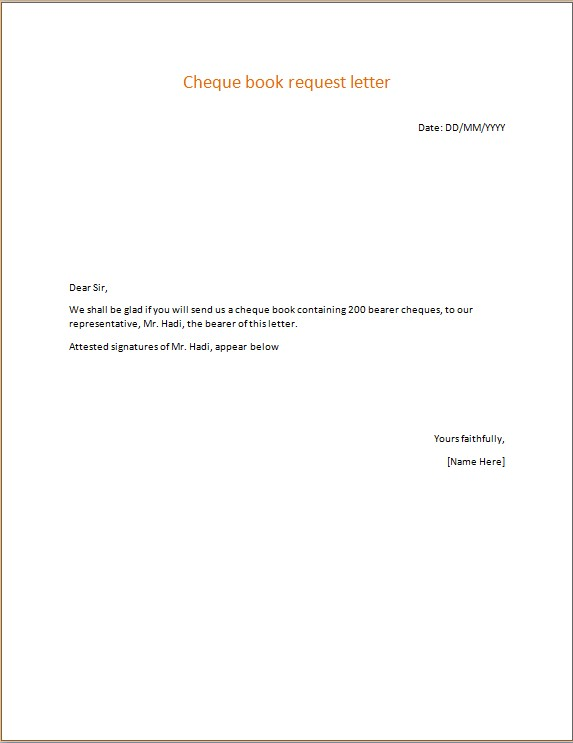 Cheque book request letter