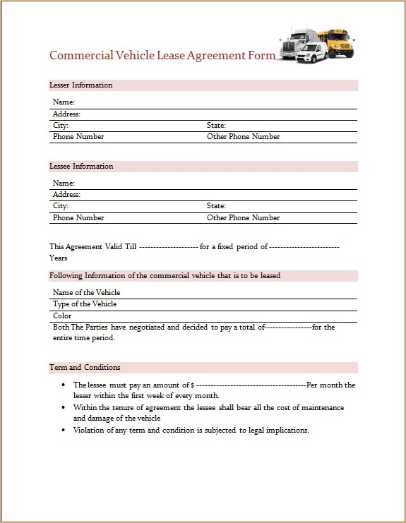 Commercial Vehicle Lease Agreement Form