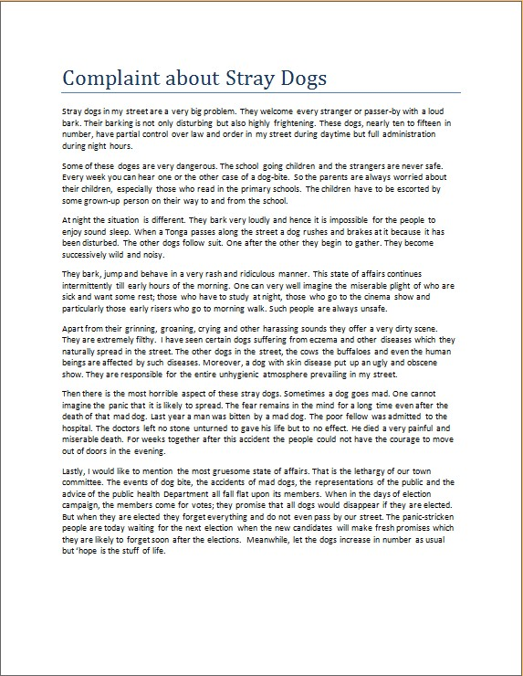 Complaint about Stray Dogs