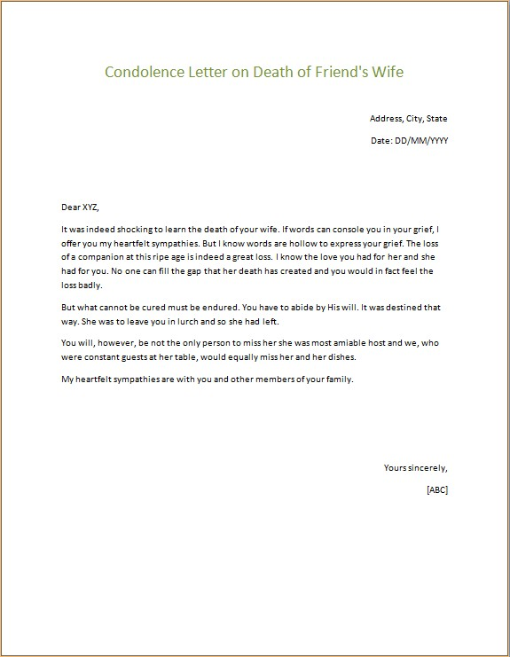 Condolence Letter on Death of Friends Wife