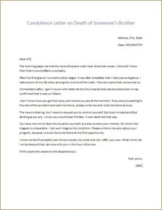 Condolence Letter on Death of Someones Brother