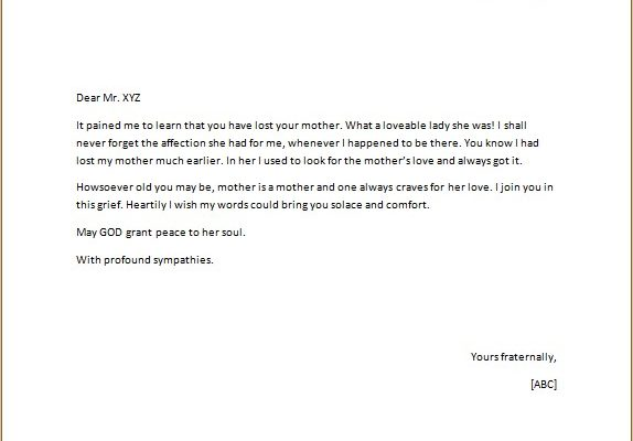 Condolence Letter on Death of Someones Mother