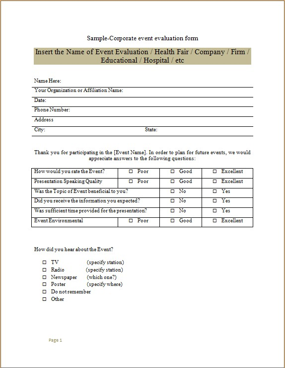 Corporate Event Evaluation Form