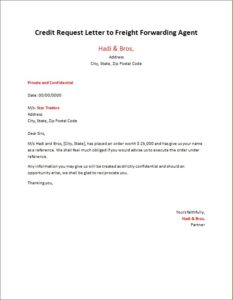 Credit Request Letter to Freight Forwarding Agent