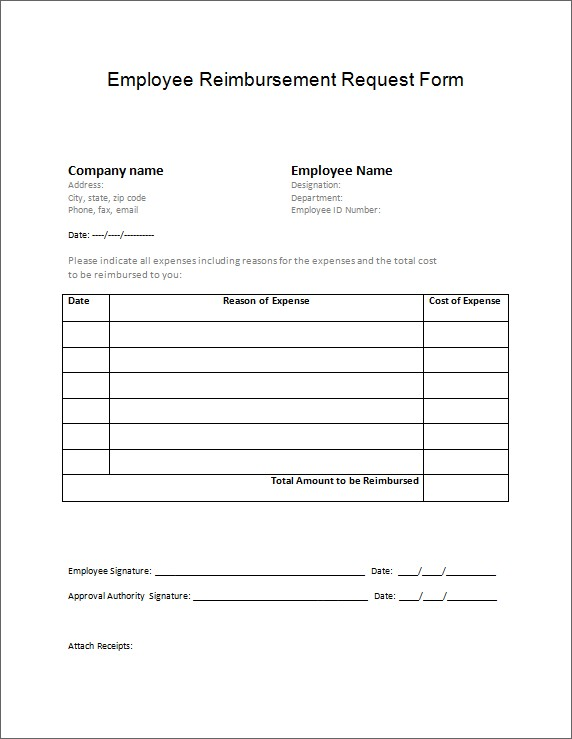 General Reimbursement Request Form Microsoft Word Excel Templates
