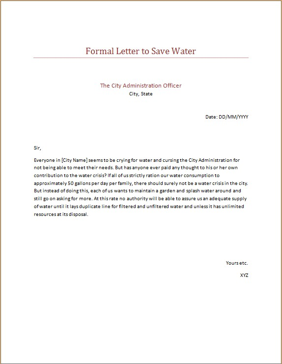 Formal Letter to Save Water