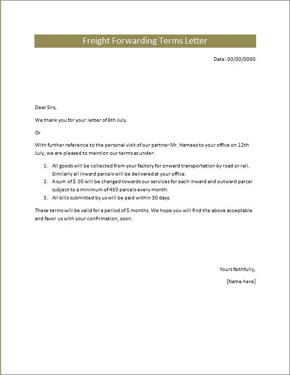 Freight Forwarding Terms Letter