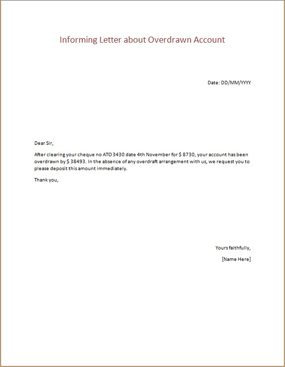Informing Letter about Overdrawn Account