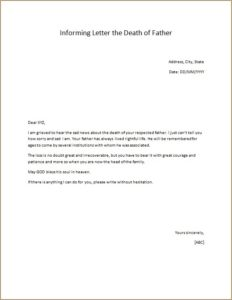 Informing Letter the Death of Father