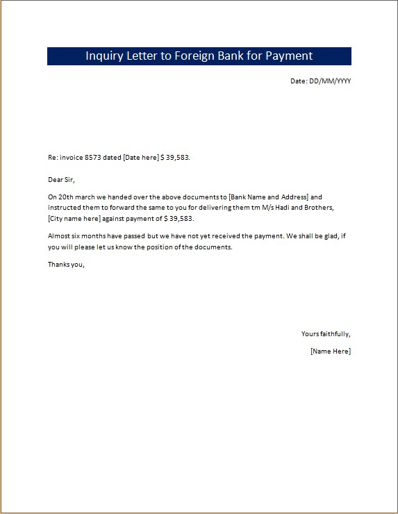 Inquiry Letter to Foreign Bank for Payment