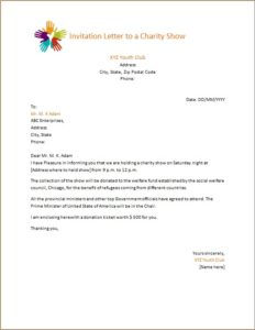Invitation Letter to a Charity Show