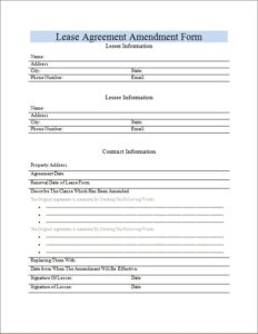 Lease Agreement Amendment Form