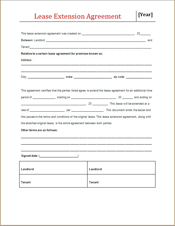 lease extension agreement form microsoft word excel templates