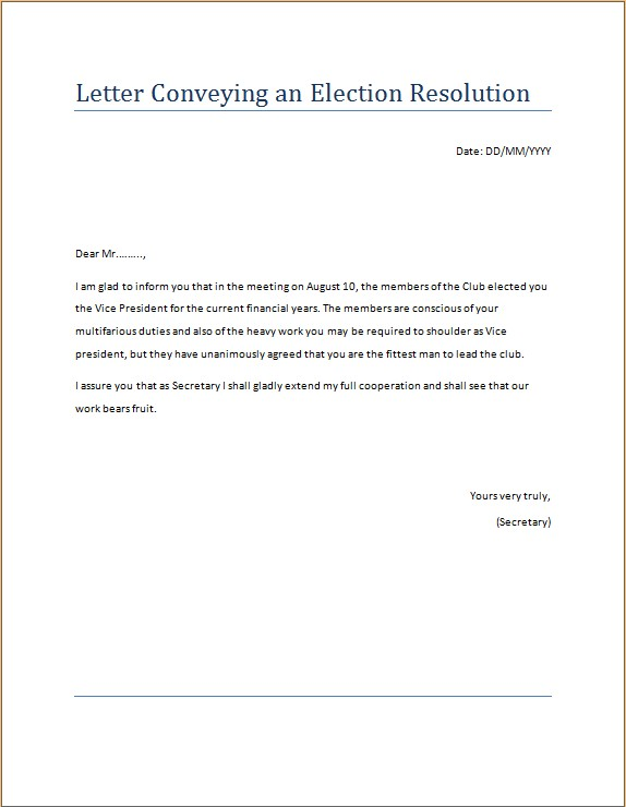Letter Conveying an Election Resolution