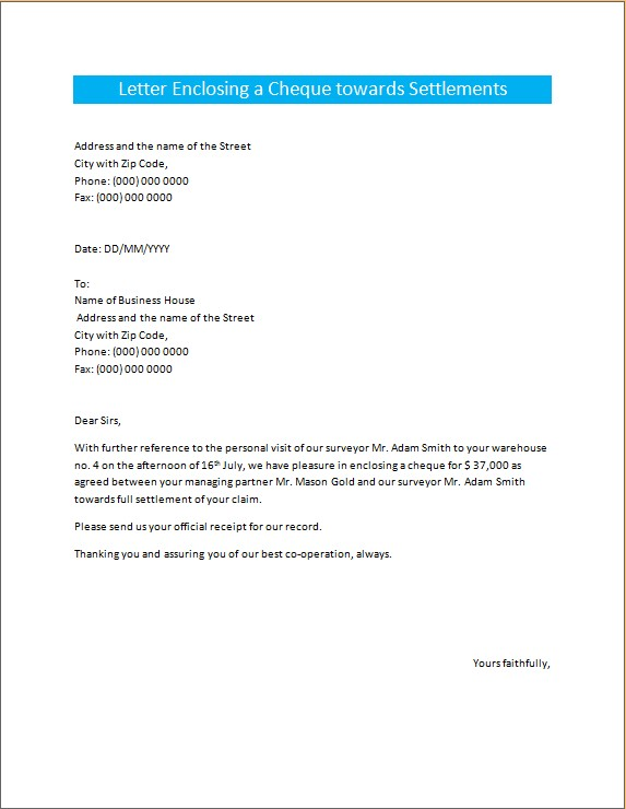 Letter Enclosing a Cheque towards Settlements
